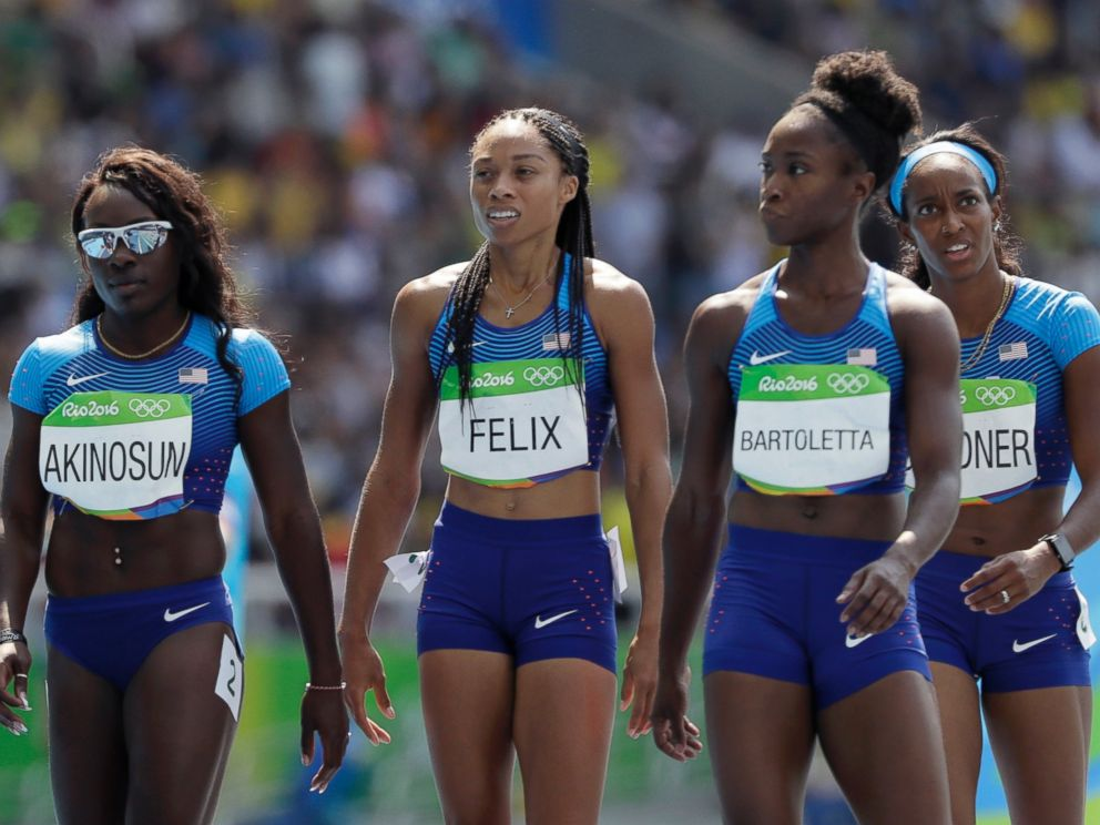 PHOTO: From left, members of the United States 4x100-meter relay team: Morolake Akinosun, Allyson Felix, Tianna Bartoletta and English Gardner walk to the finish after dropping the baton during the Summer Olympics in Rio de Janeiro, Aug. 18, 2016.