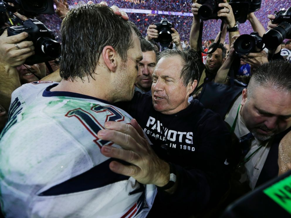 PHOTO: New England Patriots quarterback Tom Brady, left, celebrates with head coach Bill Belichick after the NFL Super Bowl XLIX football game against the Seattle Seahawks Feb. 1, 2015, in Glendale, Ariz.