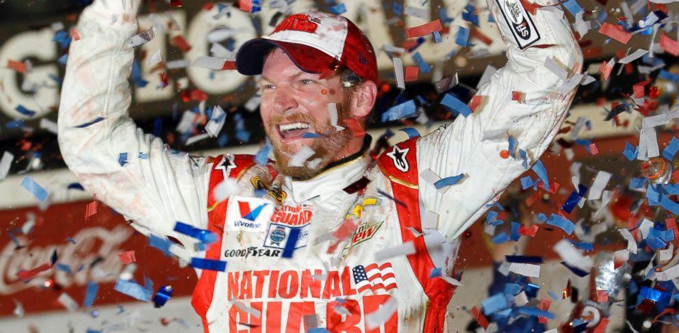 PHOTO: Dale Earnhardt Jr. celebrates in Victory Lane after winning the NASCAR Daytona 500 Sprint Cup series auto race at Daytona International Speedway in Daytona Beach, Fla., Sunday, Feb. 23, 2014.