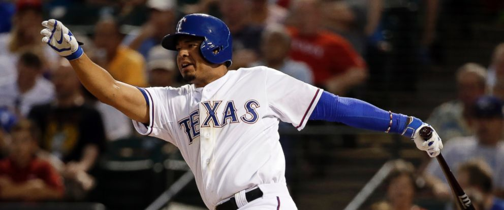 PHOTO: Texas Rangers Guilder Rodriguez swings at a pitch, Sept. 9, 2014, in Arlington, Texas.
