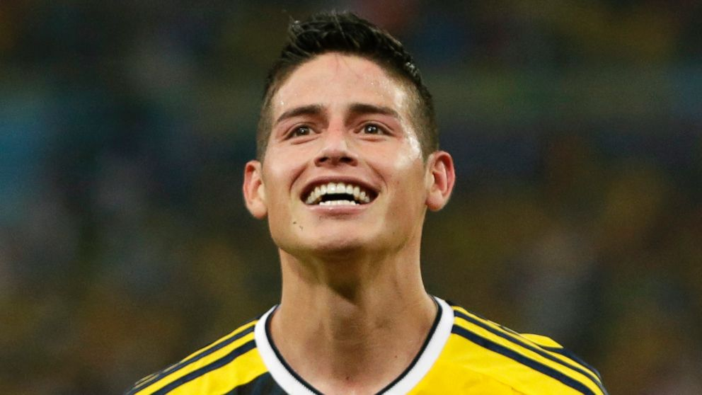 Colombia s James Rodriguez celebrates after he scored his side s second  goal during the World Cup round fa98f1c32