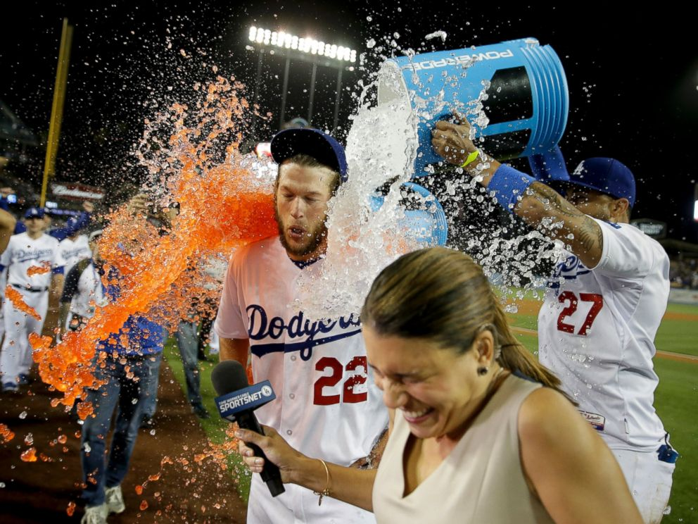 PHOTO: Los Angeles Dodgers pitcher Clayton Kershaw gets showered with sports drink following his no-hitter against the Colorado Rockies, June 18, 2014.