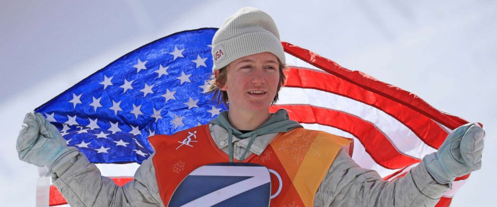 PHOTO: U.S. Redmond Gerard celebrates after winning the Snowboard Mens Slopestyle of the Pyeongchang Olympic Winter Games.