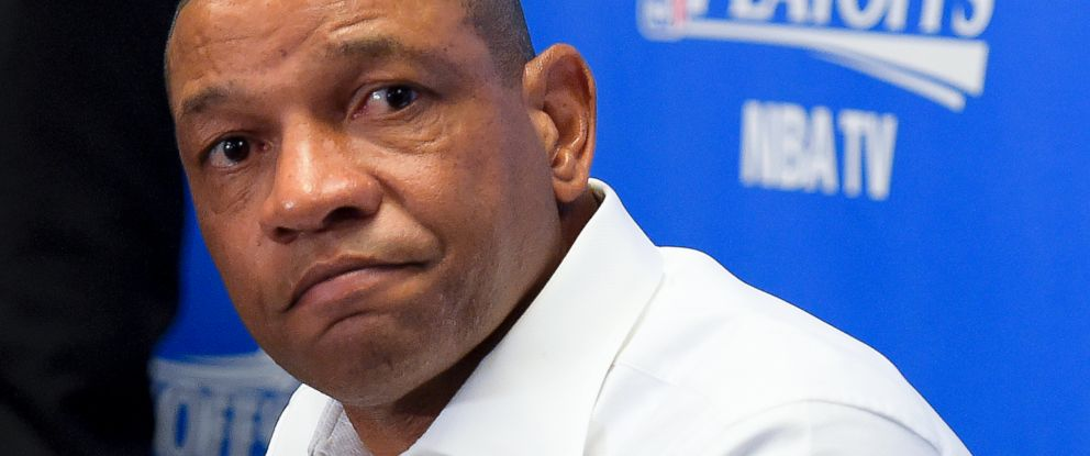 PHOTO: Los Angeles Clippers coach Doc Rivers speaks during a news conference, April 29, 2014, in Los Angeles.