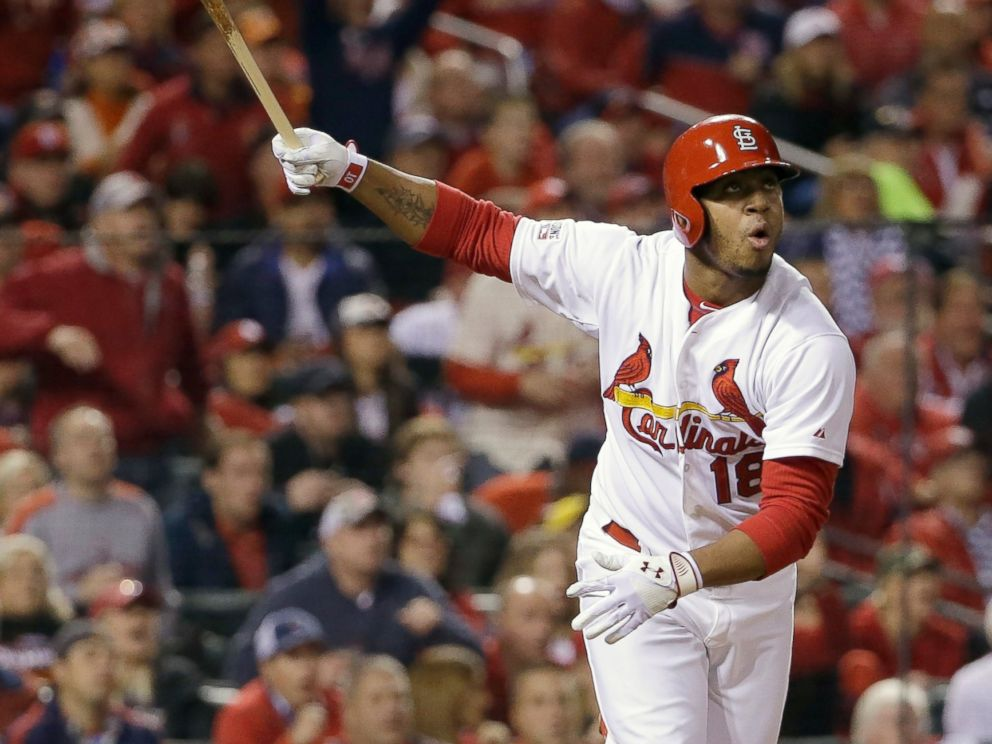 St. Louis Cardinals Oscar Taveras hits a home run during the seventh inning in Game 2 of the National League baseball championship series against the San Francisco Giants, Oct. 12, 2014, in St. Louis.