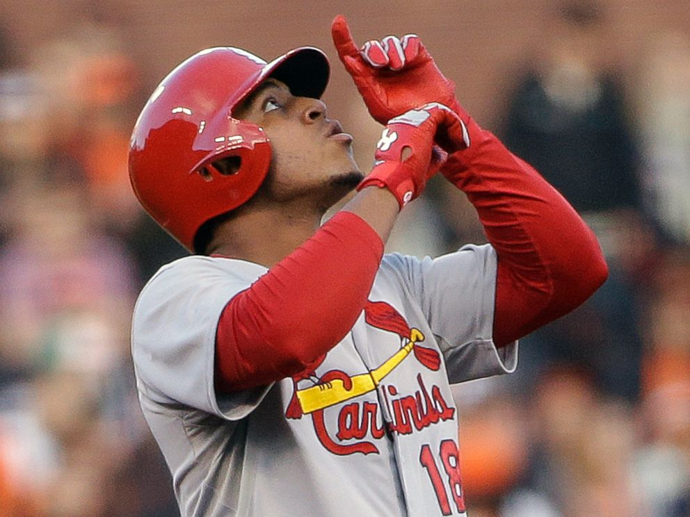 This July 2, 2014 file photo shows St. Louis Cardinals Oscar Taveras at second base after doubling to right field in the third inning of a baseball game against the San Francisco Giants in San Francisco.
