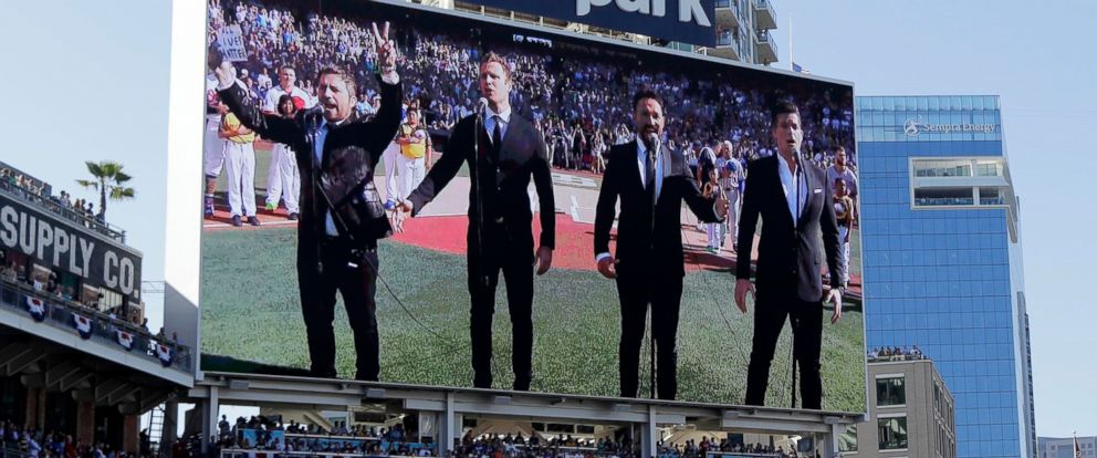 """PHOTO: The Tenors changed a lyric in his countrys national anthem and held up a sign proclaiming """"All Lives Matter"""" during a pregame performance at the 87th All-Star Game in San Diego on July 12, 2016."""
