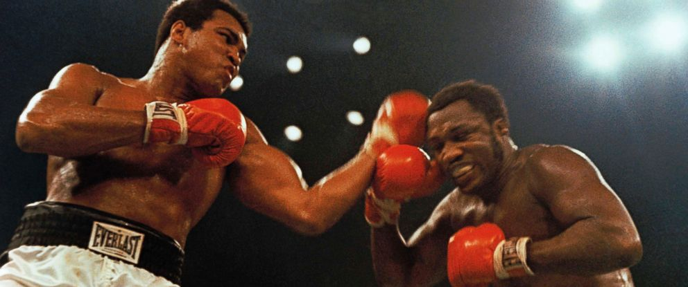 PHOTO:Muhammad Ali, left, and Joe Frazier in the 12 round non-title fight that took place at Madison Square Garden in New York, Jan. 28, 1974.