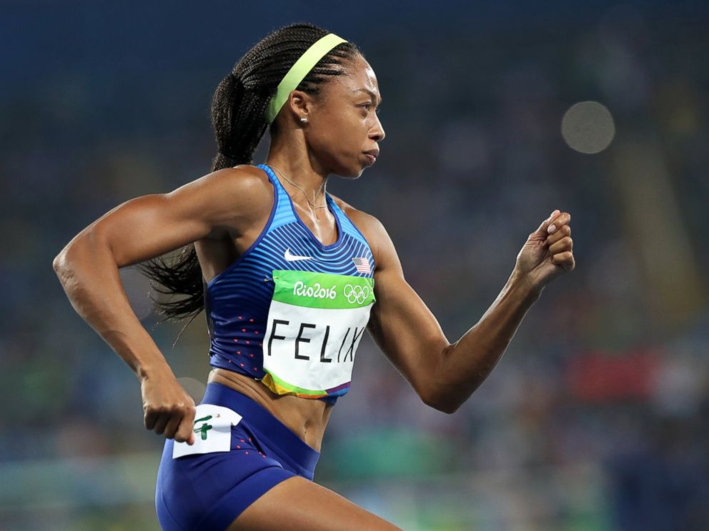 PHOTO: United States Allyson Felix competes in the womens 400-meter final during the 2016 Summer Olympics in Rio de Janeiro, Aug. 15, 2016.