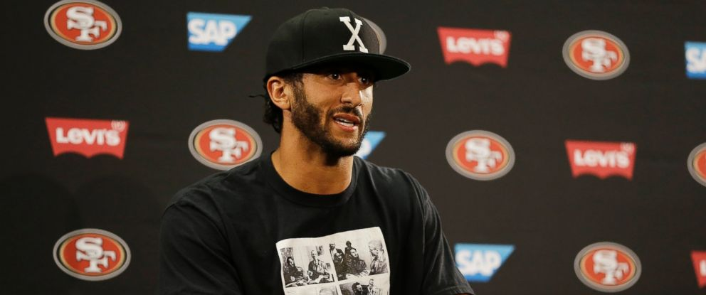 PHOTO: San Francisco 49ers quarterback Colin Kaepernick answers questions at a news conference after an NFL preseason football game against the Green Bay Packers, Aug. 26, 2016, in Santa Clara, California.