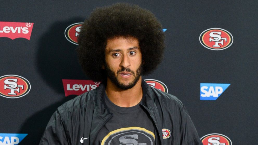 San Francisco 49ers quarterback Colin Kaepernick talks to the media at a news conference, Sept. 1, 2016, in San Diego.
