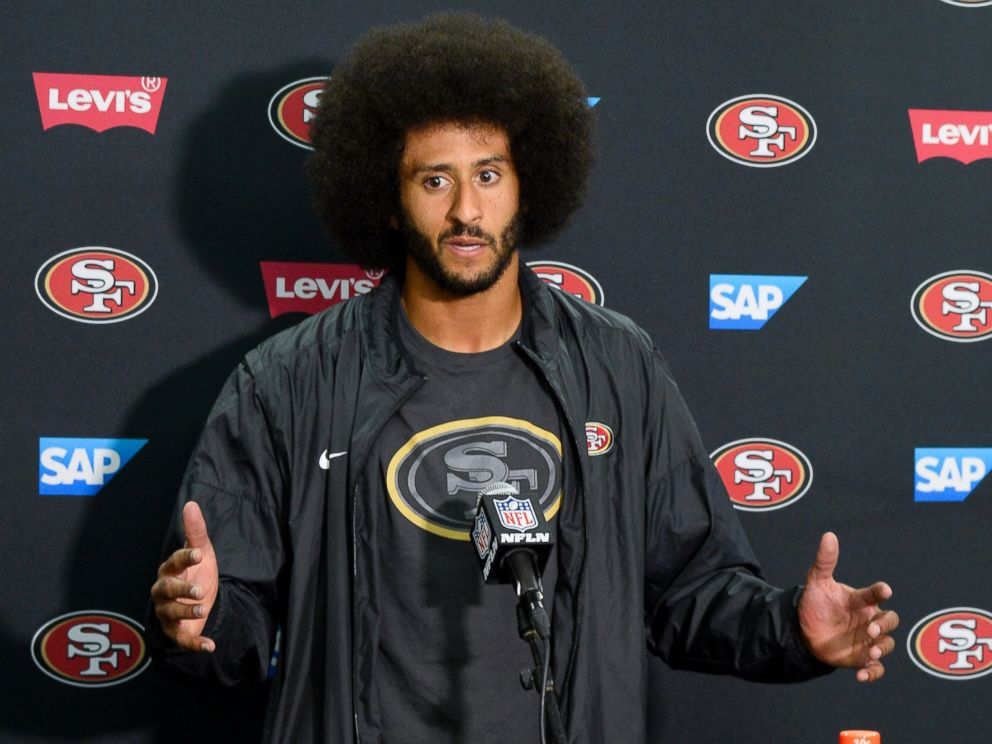 PHOTO: San Francisco 49ers quarterback Colin Kaepernick talks to the media at a news conference, Sept. 1, 2016, in San Diego.