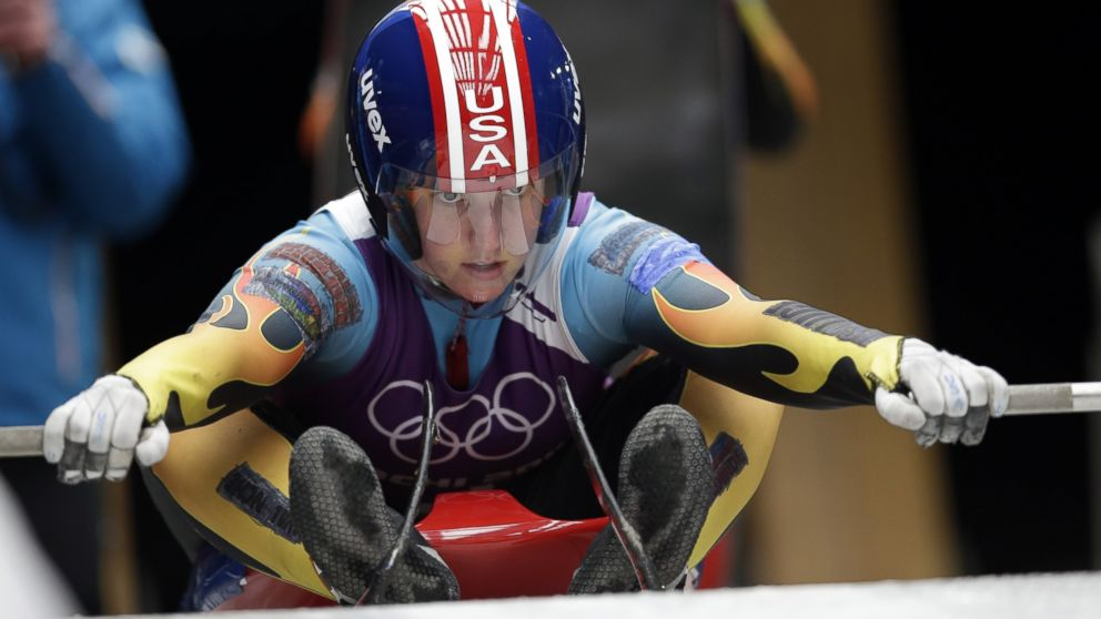 Erin Hamlin of the United States gets ready to start her run during a training session for the women's singles luge at the 2014 Winter Olympics, Thursday, Feb. 6, 2014, in Krasnaya Polyana, Russia.