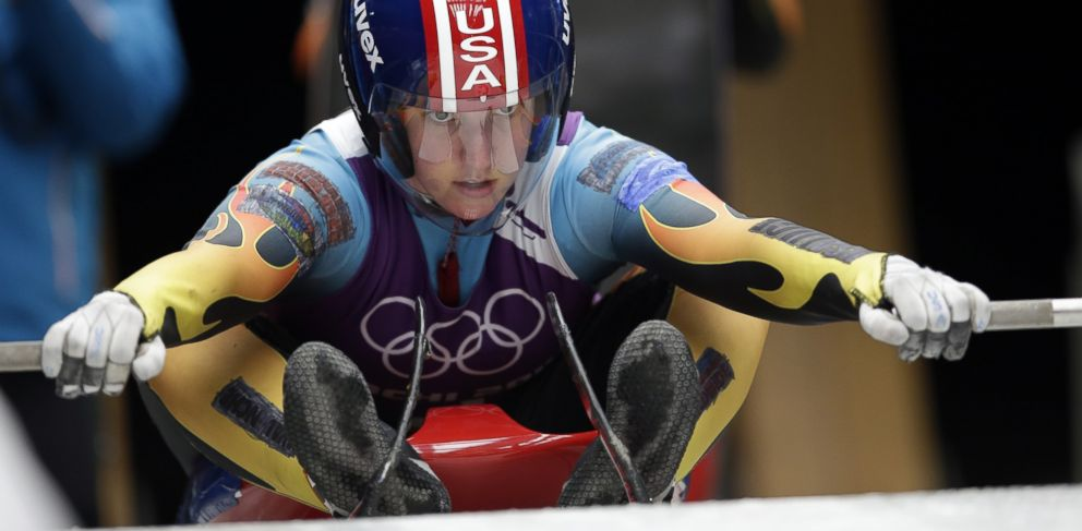 PHOTO: Erin Hamlin of the United States gets ready to start her run during a training session for the womens singles luge at the 2014 Winter Olympics, Thursday, Feb. 6, 2014, in Krasnaya Polyana, Russia.