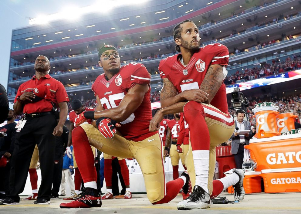 PHOTO: San Francisco 49ers safety Eric Reid (35) and quarterback Colin Kaepernick (7) kneel during the national anthem before an NFL football game against the Los Angeles Rams, Sept. 12, 2016.