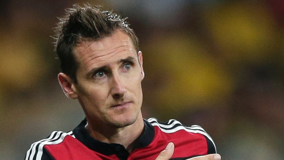 Germany's Miroslav Klose gestures as he is substituted during the World Cup semifinal soccer match between Brazil and Germany at the Mineirao Stadium in Belo Horizonte, Brazil, Tuesday, July 8, 2014.