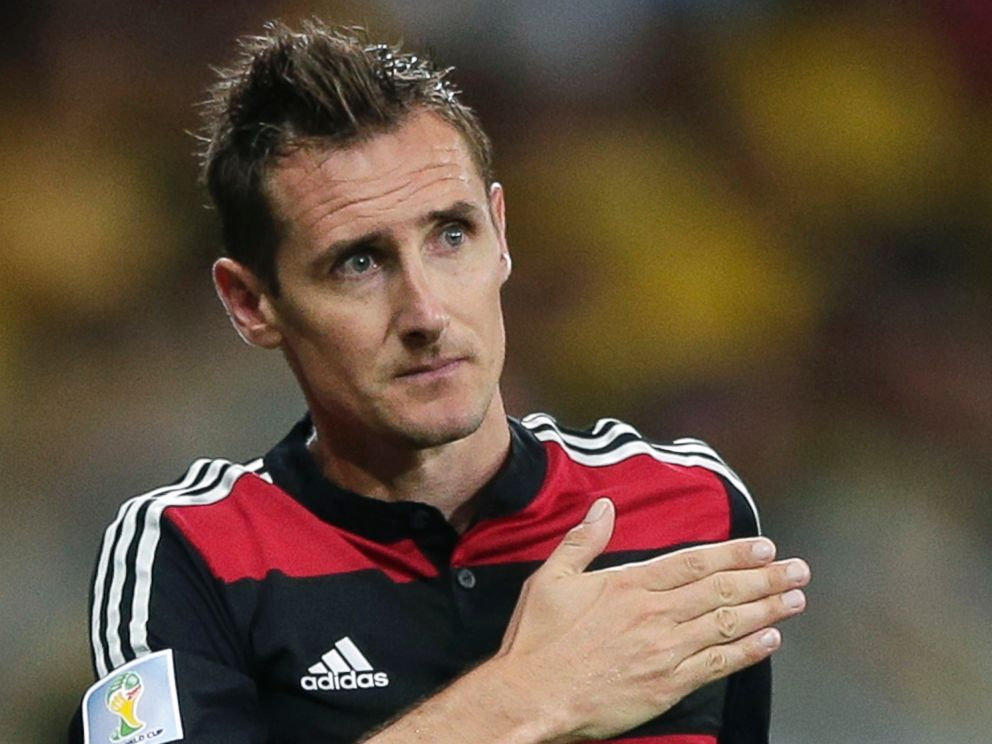 PHOTO: Germanys Miroslav Klose gestures as he is substituted during the World Cup semifinal soccer match between Brazil and Germany at the Mineirao Stadium in Belo Horizonte, Brazil, Tuesday, July 8, 2014.