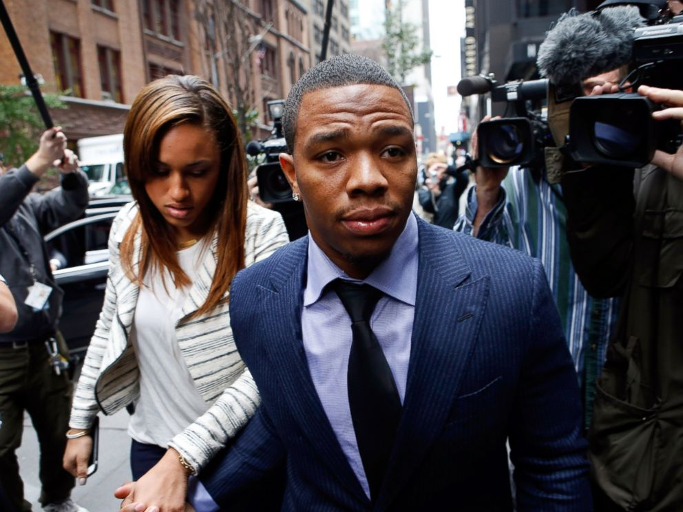 PHOTO: Ray Rice arrives with his wife, Janay, for an appeal hearing of his indefinite suspension from the NFL, Nov. 5, 2014, in New York.