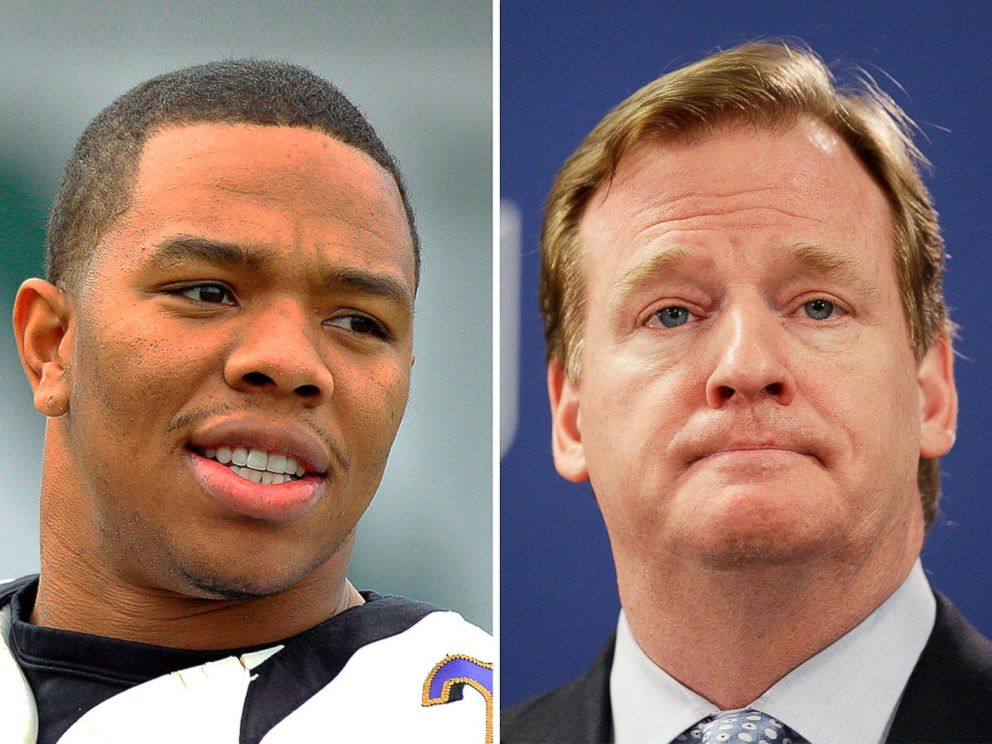 PHOTO: Right, Baltimore Ravens running back Ray Rice and NFL Commissioner Roger Goodell are seen in this file photo.