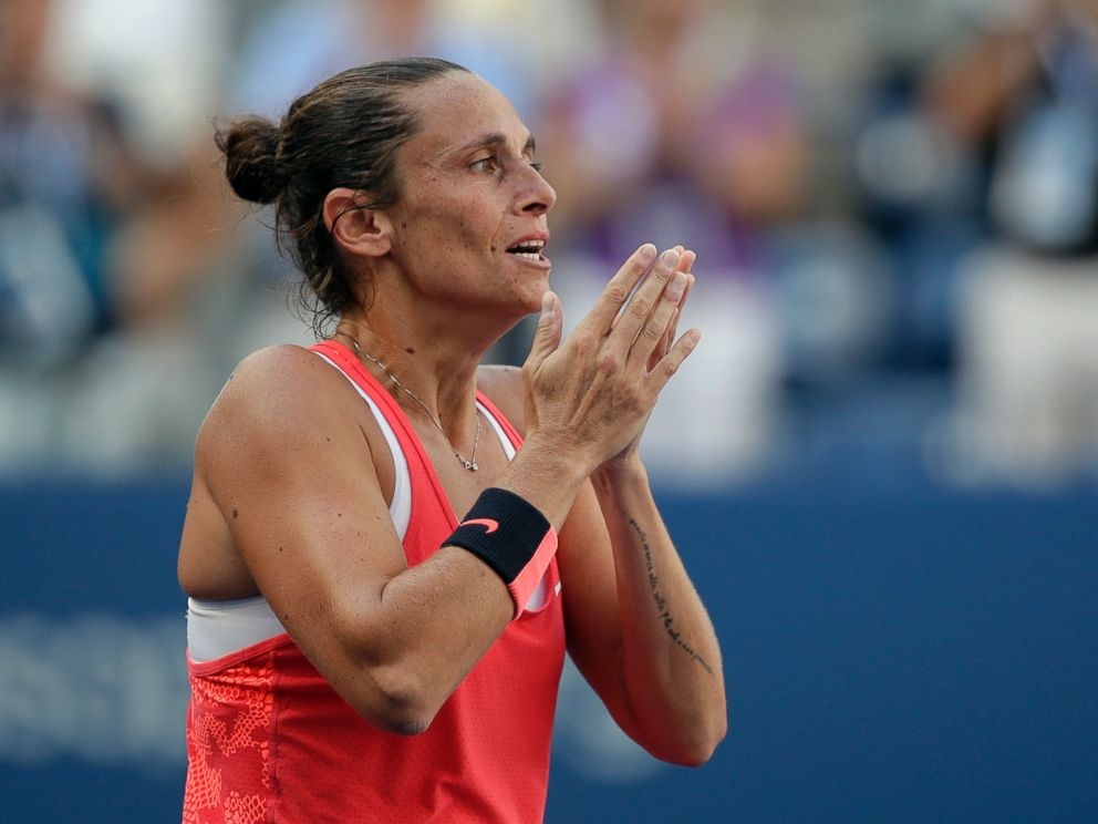 PHOTO: Roberta Vinci, of Italy, reacts after beating Serena Williams during a semifinal match at the U.S. Open tennis tournament, Sept. 11, 2015, in New York.