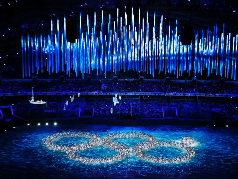 PHOTO: Performers recreate the ring that did not open during the opening ceremony during the closing ceremony of the 2014 Winter Olympics, Sunday, Feb. 23, 2014, in Sochi, Russia.