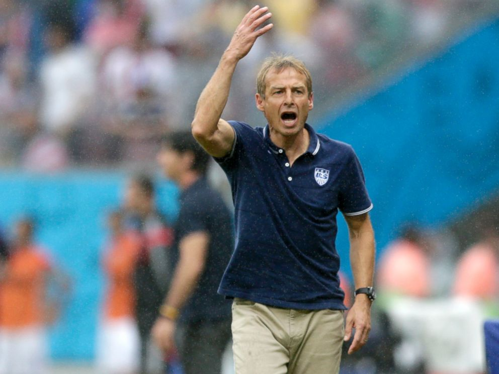 PHOTO: United States head coach Juergen Klinsmann questions a call during the group G World Cup soccer match between the United States and Germany at the Arena Pernambuco in Recife, Brazil, June 26, 2014.