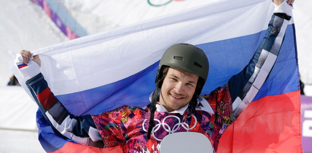 PHOTO: Russias Vic Wild celebrates his gold medal in the mens snowboard parallel slalom final at the Rosa Khutor Extreme Park, at the 2014 Winter Olympics, Saturday, Feb. 22, 2014, in Krasnaya Polyana, Russia.