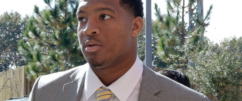 PHOTO: Florida State NCAA college football quarterback Jameis Winston arrives at Florida States Materials Research building for his student code on conduct hearing on Dec. 2, 2014 in Tallahassee, Fla.
