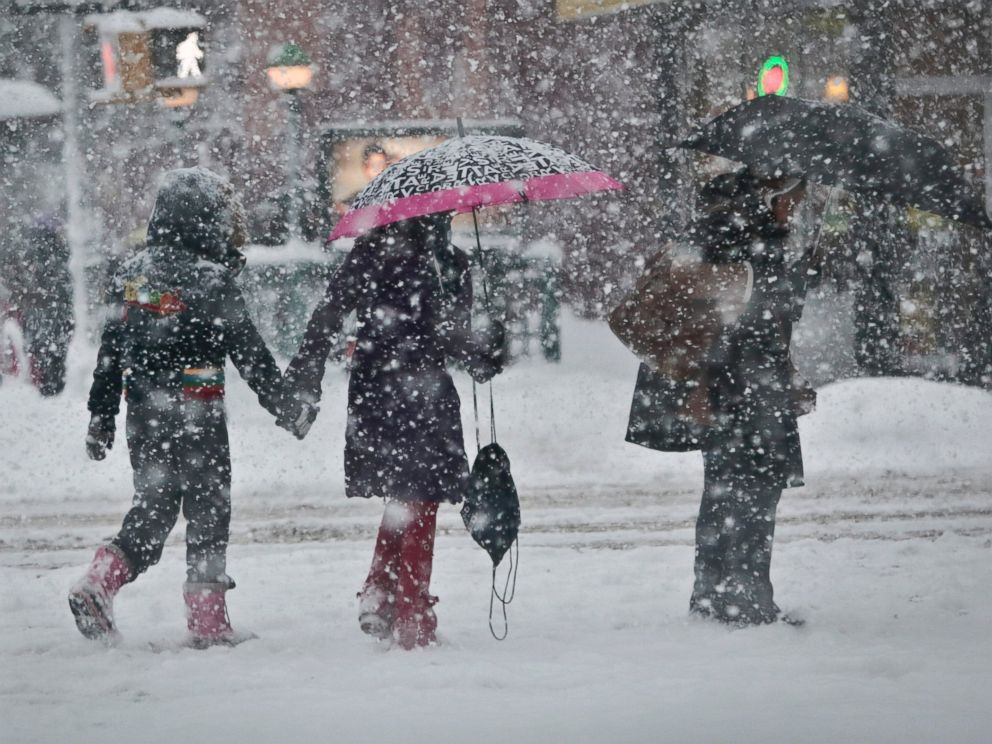 PHOTO: Pedestrians walk along Nostrand Avenue as snowfall blankets the area, Feb. 13, 2014, in the Flatbush section of the Brooklyn borough of N.Y.