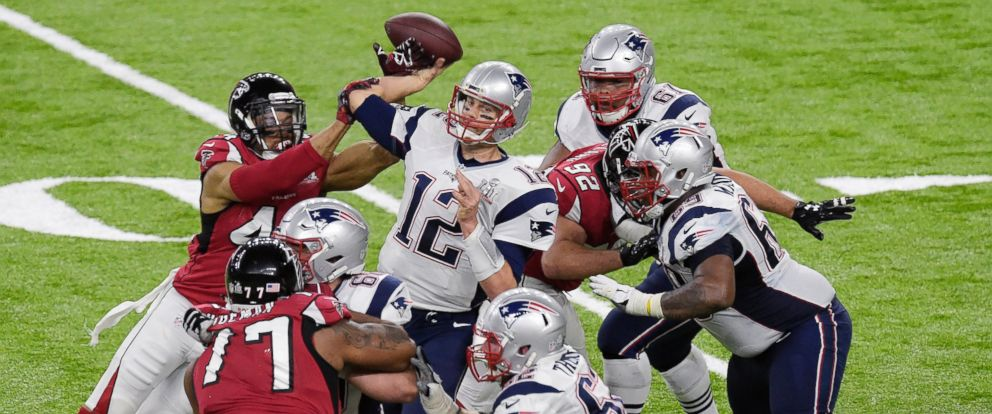 PHOTO: Quarterback Tom Brady #12 of the New England Patriots drops back during Super Bowl 51, February 5, 2017 in Houston, Texas.