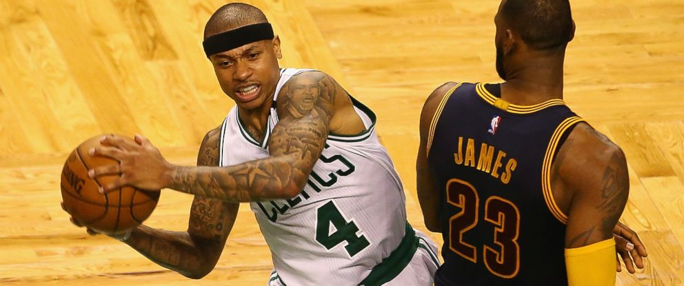 PHOTO:Isaiah Thomas #4 of the Boston Celtics handles the ball against LeBron James #23 of the Cleveland Cavaliers in the second half during Game One of the 2017 NBA Eastern Conference Finals at TD Garden on May 17, 2017 in Boston, Mass.