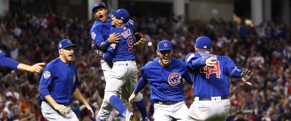 PHOTO: The Chicago Cubs celebrate after winning 8-7 in Game Seven of the 2016 World Series in Cleveland on Nov. 2, 2016 in Cleveland, Ohio.