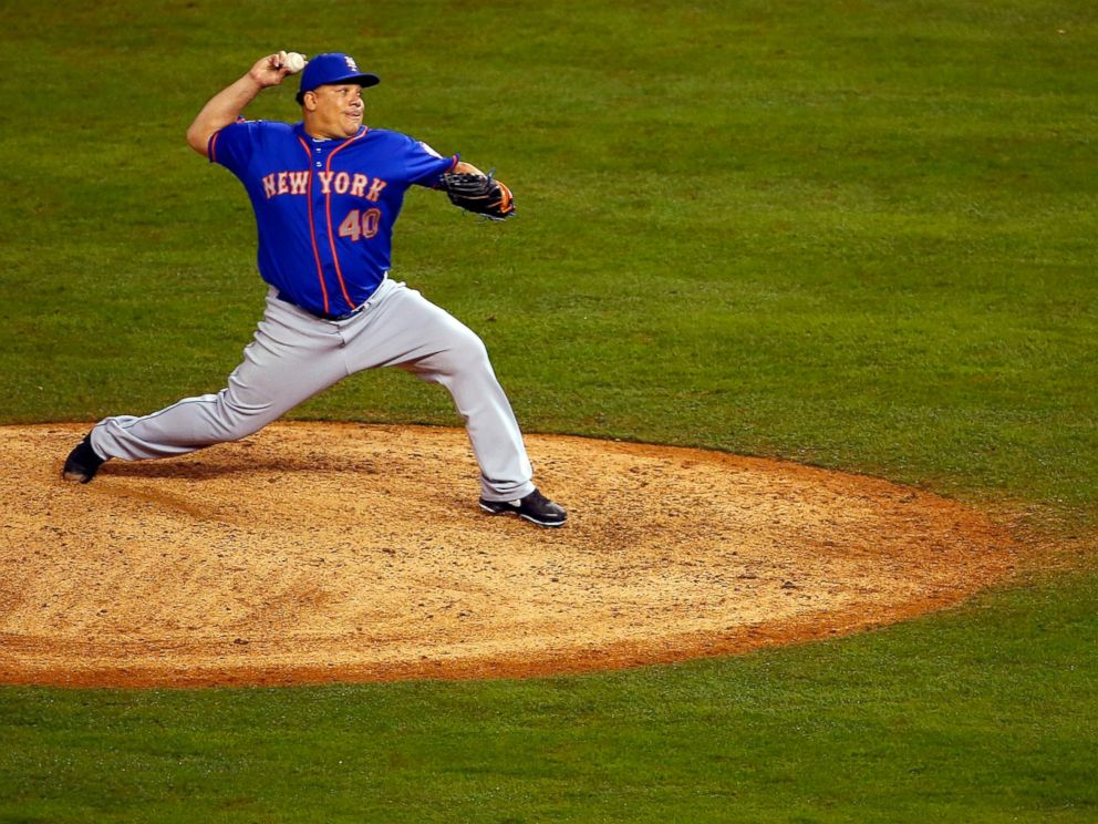 PHOTO: Bartolo Colon of the New York Mets throws a pitch in the twelfth inning against the Kansas City Royals during Game One of the 2015 World Series at Kauffman Stadium on October 27, 2015 in Kansas City, Missouri.