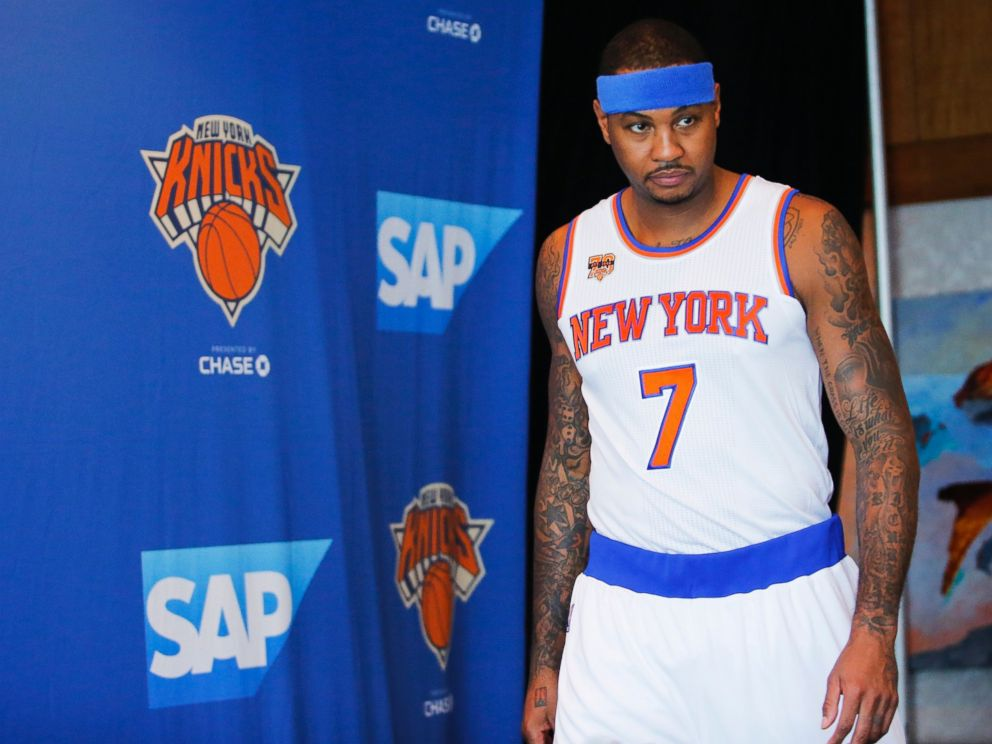 PHOTO: Carmelo Anthony speaks arrives for a press conference during the New York Knicks Media Day, on Sept. 26, 2016, in White Plains, New York.