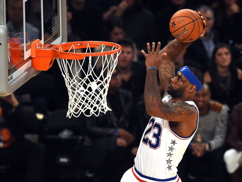 PHOTO: East NBA All Star LeBron James goes to the basket during the 64th NBA