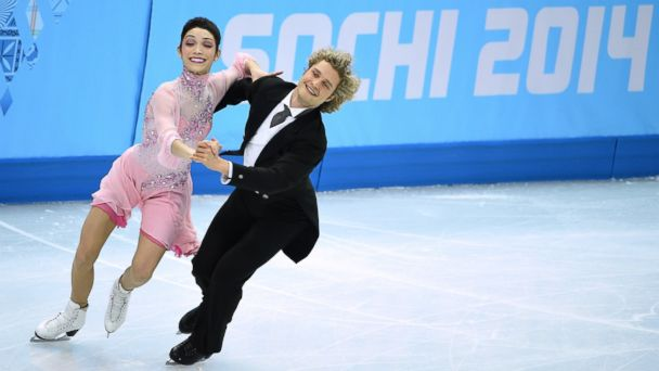 PHOTO: US Meryl Davis and Charlie White perform in the Figure Skating Ice Dance Short Dance at the Iceberg Skating Palace on Feb. 16, 2014.