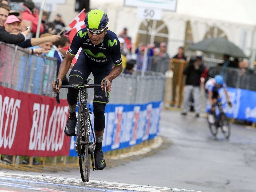 PHOTO: Colombias Nairo Quintana rides and wins the 16th stage of the 97th Giro dItalia (Tour of Italy) cycling race, 139 km from Ponte di Legno to Val Martello, on May 27, 2014 in Val Martello.