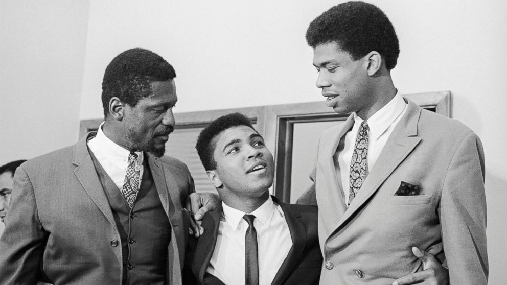 Bill Russell, left, Cassius Clay and Lew Alcindor, later Kareem Abdul-Jabbar, speak at a press conference rejecting US Army induction, June 1967.
