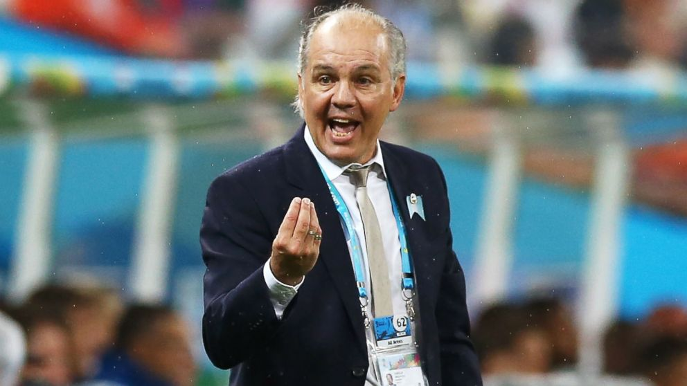 Head coach Alejandro Sabella of Argentina gestures during the 2014 FIFA World Cup Brazil Semi Final match between the Netherlands and Argentina at Arena de Sao Paulo on July 9, 2014 in Sao Paulo, Brazil.
