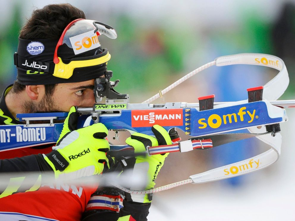 PHOTO: Martin Fourcade of France takes 1st place during the IBU Biathlon World Cup Mens and Womens Relay, Jan. 19, 2014, in Antholz-Anterselva, Italy.