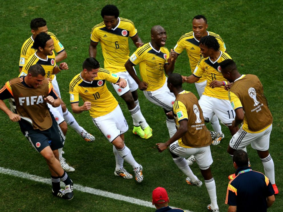 47d64598837 PHOTO  James Rodriguez  10 of Colombia celebrates by dancing with teammates  after scoring his