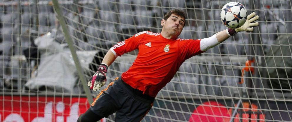 PHOTO: Iker Casillas of Real Madrid in action during a training session ahead of their UEFA Champions League semi-final second leg match against FC Bayern Muenchen at Allianz Arena on April 28, 2014 in Munich, Germany.
