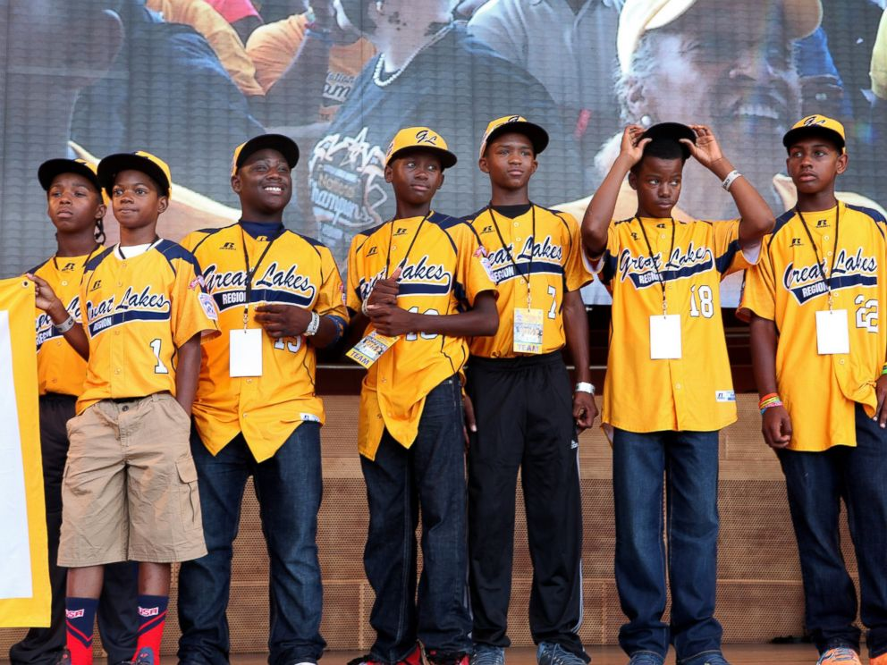 PHOTO: The Jackie Robinson West little league baseball team participates in the teams United States World Series Championship Rally at Millennium Park, Aug. 27, 2014, in Chicago.