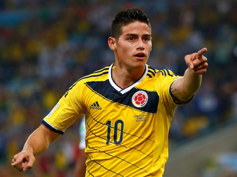 PHOTO: James Rodriguez of Colombia celebrates scoring his teams second goal and his second of the game during the 2014 FIFA World Cup Brazil round of 16 match between Colombia and Uruguay at Maracana on June 28, 2014 in Rio de Janeiro, Brazil.