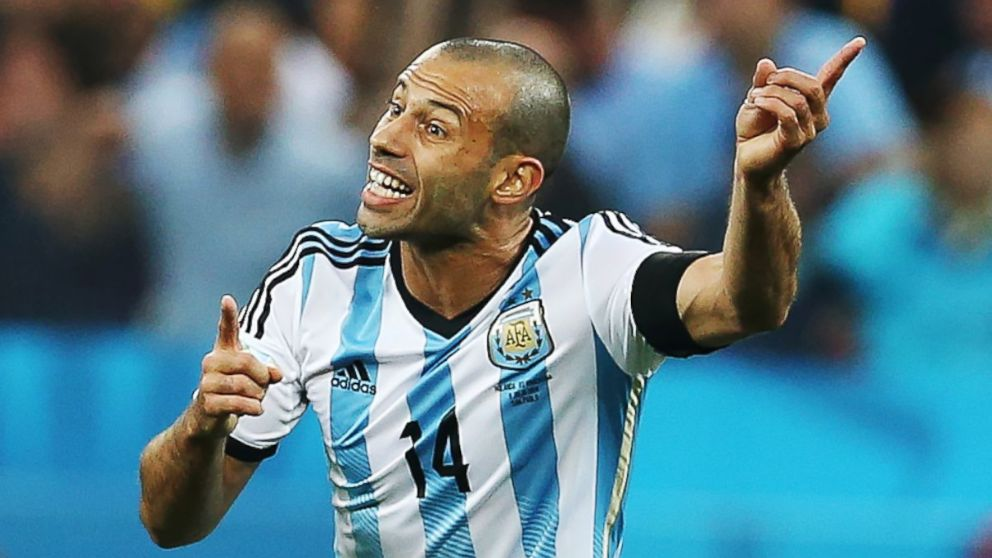 Javier Mascherano of Argentina gestures during the 2014 FIFA World Cup Brazil Semi Final match between Netherlands and Argentina at The Arena de Sao Paulo on July 9, 2014 in Sao Paulo, Brazil.
