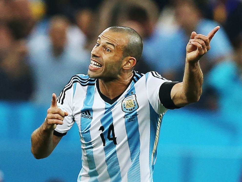 PHOTO: Javier Mascherano of Argentina gestures during the 2014 FIFA World Cup Brazil Semi Final match between Netherlands and Argentina at The Arena de Sao Paulo on July 9, 2014 in Sao Paulo, Brazil.