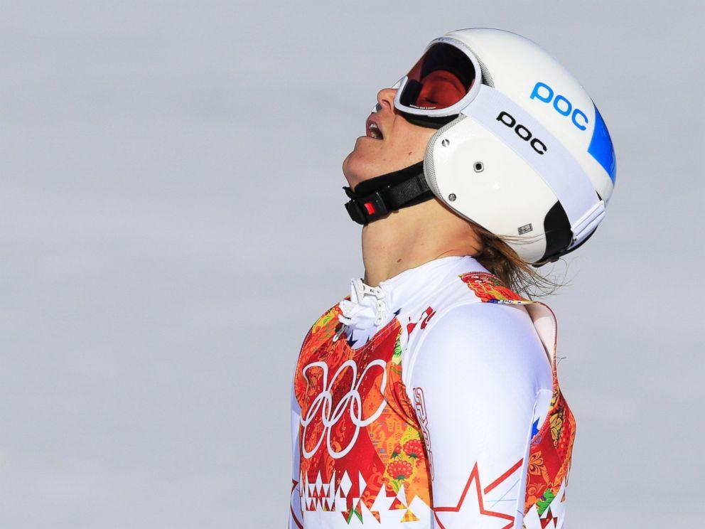 PHOTO: US skier Julia Mancuso finishes the Womens Alpine Skiing Downhill at the Rosa Khutor Alpine Center on Feb. 12, 2014.
