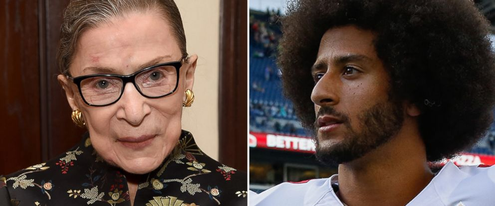 PHOTO: Supreme Court Justice Ruth Bader Ginsburg holds a copy of her new book, Sept. 21, 2016, in New York; Quarterback Colin Kaepernick, #7, of the San Francisco 49ers after the game against the Seattle Seahawks, Sept. 25, 2016 in Seattle.