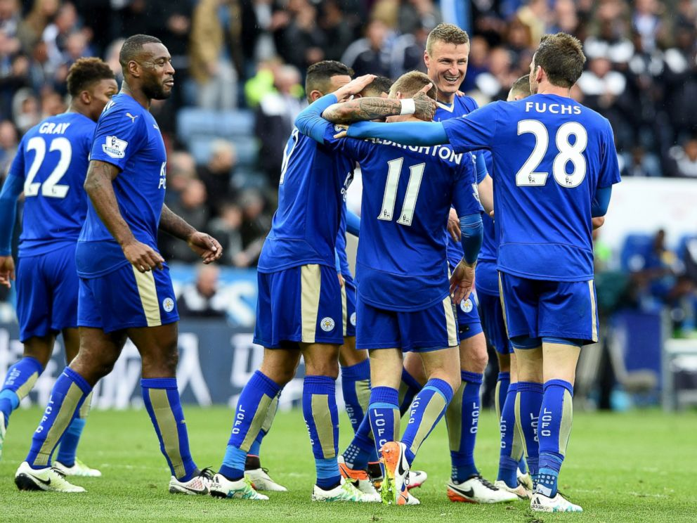 PHOTO: Marc Albrighton of Leicester City celebrates the forth goal during the Barclays Premier League match between Leicester City and Swansea City at the King Power Stadium, April 24, 2016, in Leicester, United Kingdom.