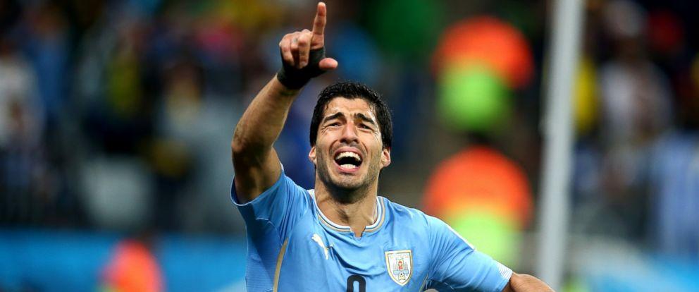PHOTO: Luis Suarez of Uruguay celebrates after scoring his teams second goal